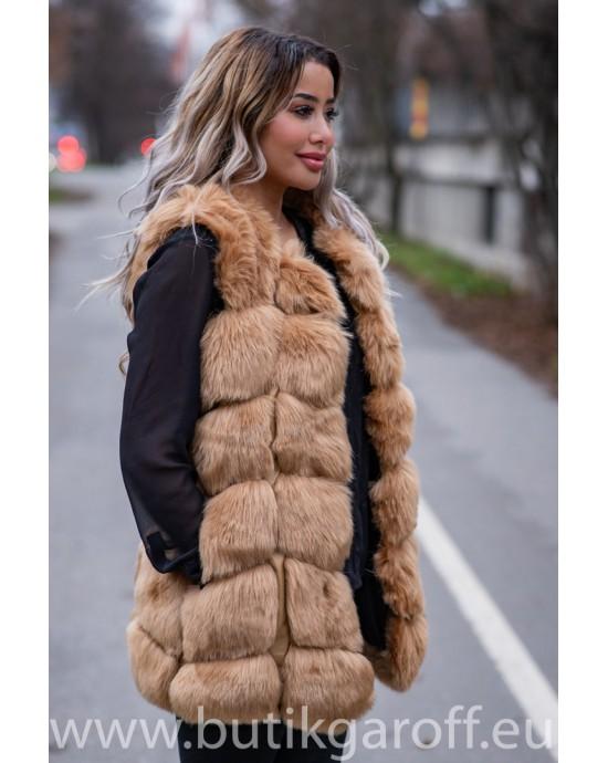 Fake fur vest - BLACK