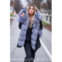 SILVER REAL FOX FUR EXLUSIVE PARKA  MODEL 39