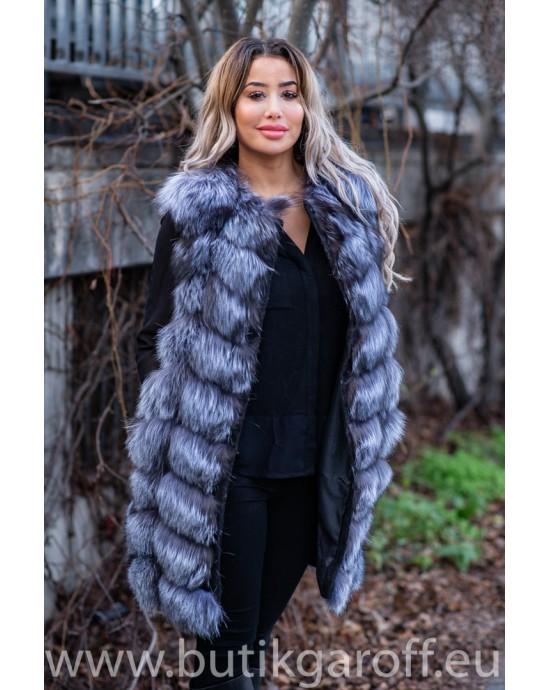 LONG Vest real fur - SILVER FOX 90cm