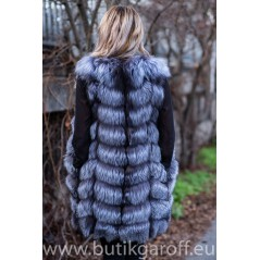 LONG Vest real fur - SILVER FOX 90cm