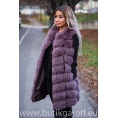 LONG Vest real fur - BURGUND 90cm
