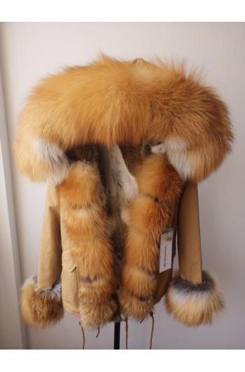 REAL FOX FUR EXLUSIVE BEIGE PARKA model 53