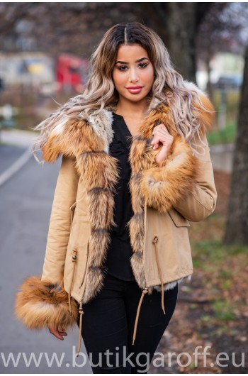 REAL FOX FUR EXLUSIVE BEIGE PARKA model 53