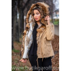 REAL RACOON FUR EXLUSIVE BEIGE PARKA model 51