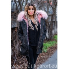BLACK PARKA WITH PINK REAL RACOON FUR