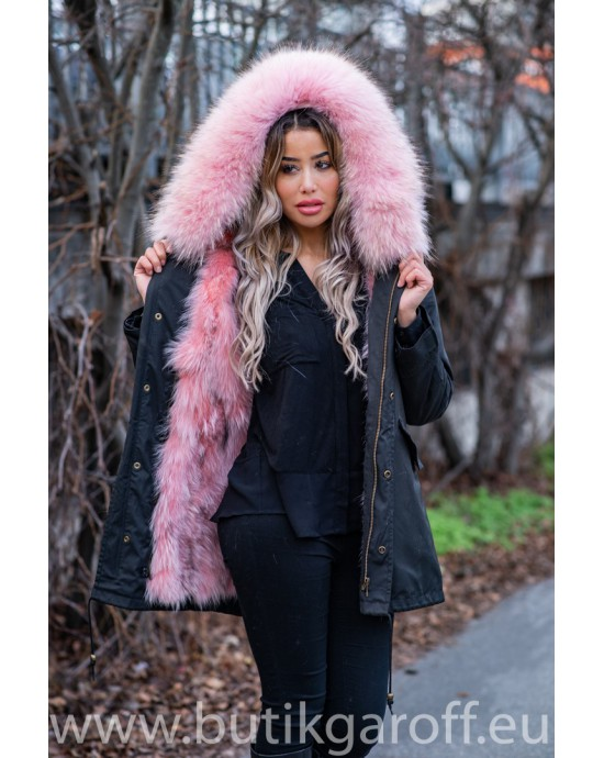 SHORT BLACK PARKA WITH GREEN REAL FUR COLLAR