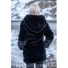 Fuskpäls lång mink jacka - SVART