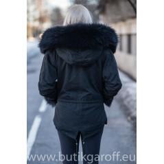 Short Black Parka Real Racoon Fur