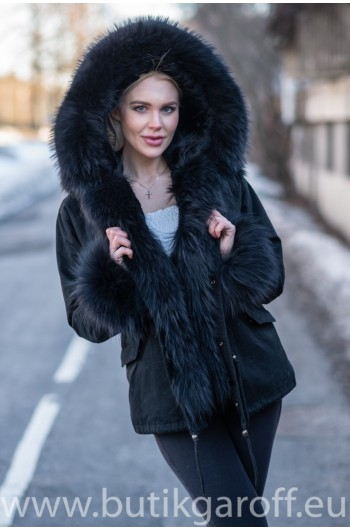 Short Black Parka Real Racoon Fur