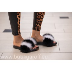 Fluffy päls tofflor - svart/vit