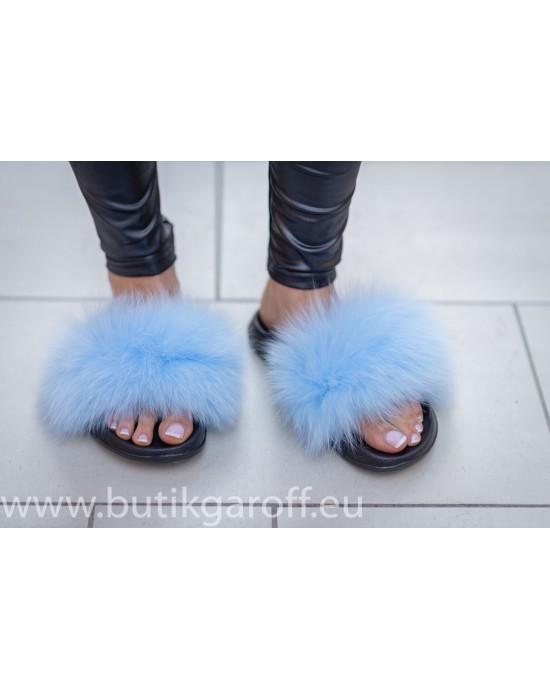 Fluffy päls tofflor - ljus blå