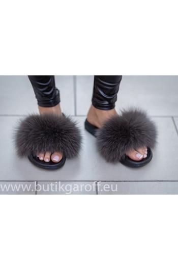 Fluffy päls tofflor - murkgrä