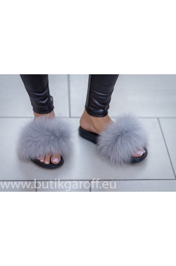 Fluffy fur slipper -light grey