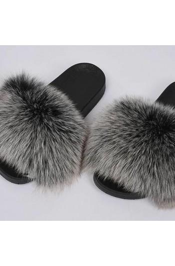 Fluffy päls tofflor - mörkgrå/ljusgrå