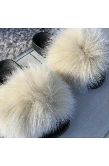 Fluffy päls tofflor - vanilla