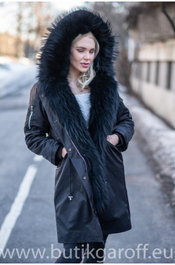 Premium Real Fox Fur Parka - Black
