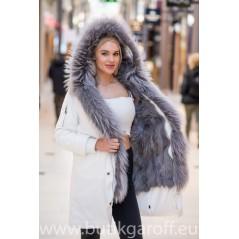 Premium Real Fox Fur Parka - VIT/GRA