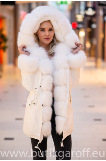 White Real Fox Fur Exlusive Parka