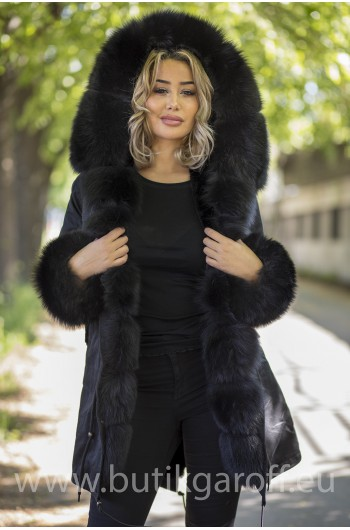LONG BLACK PARKA BLACK REAL FUR COAT
