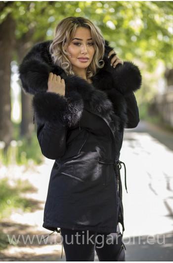 LONG BLACK PARKA BLACK REAL FUR COAT