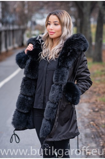 BLACK FAKE FUR FOX EXLUSIVE PARKA