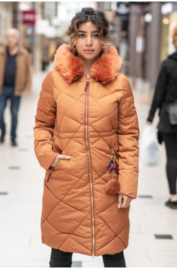 QUILTED WINTER JACKET - apelsin