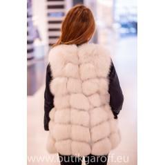Snow white real fox fur vest 70cm