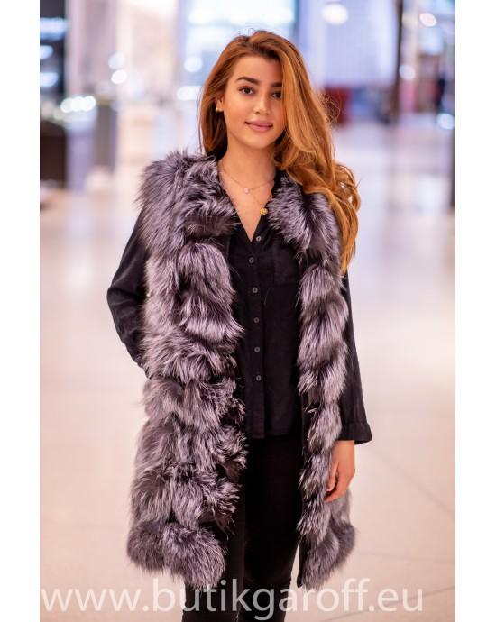 Silver real fox fur vest 90cm
