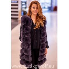Light graphite real fox fur vest 90cm