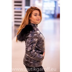 Down jacket with black racoon collar - short model