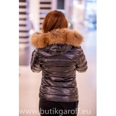 Down jacket with racoon collar - short model