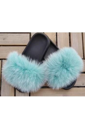 Fluffy päls tofflor - Turkos