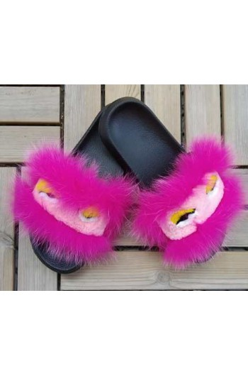 Fluffy fur slipper - Pink eyes