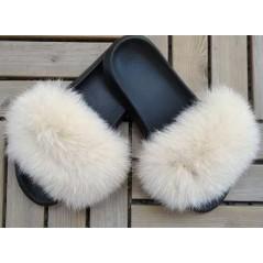 Fluffy päls tofflor - Ökensand