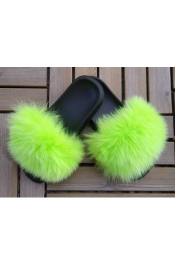 Fluffy fur slipper - Aquamarine