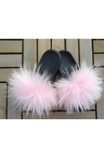Fluffy fur slipper - White/Pink