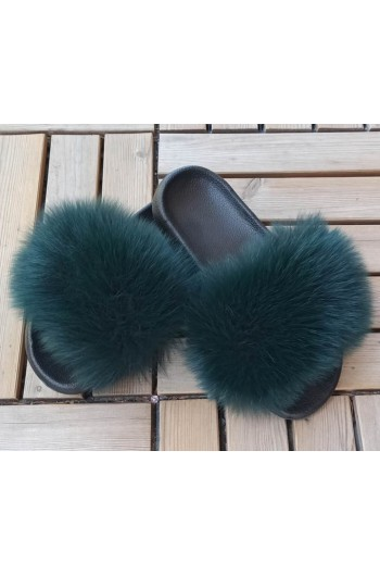 Fluffy fur slipper - Dark green