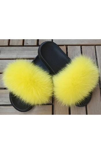 Fluffy fur slipper - Yellow