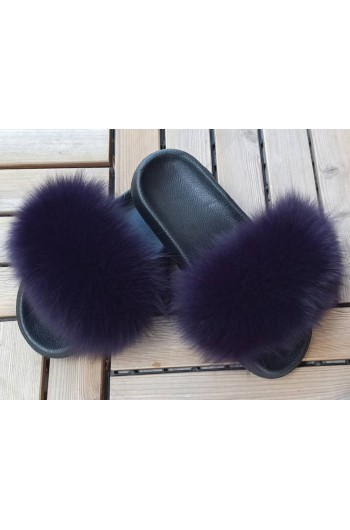 Fluffy fur slipper - Purple
