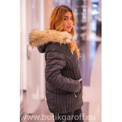 Black winter jacket Garoff with faux fur collar 1582D