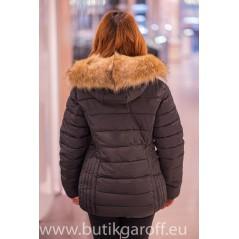 Svart Vinter jacka Garoff med fuskpäls krage 1582D