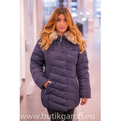 Blue winter jacket Garoff with faux fur collar 1896D
