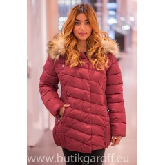 Burgundy winter jacket Garoff with faux fur collar 1896D
