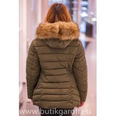 Khaki winter jacket Garoff with faux fur collar 1806D