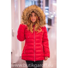 Red winter jacket Garoff with faux fur collar 1806D