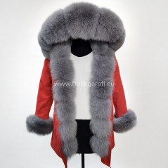 Winter Red Parka with real fox fur - Model nr 66