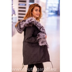 Winter Black Parka with real silver fox fur - Model 56