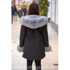 Vinter Svart Parka med grå äkta påls - MODEL nr 2