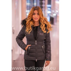 Black winter jacket Garoff with faux black fur collar 1582