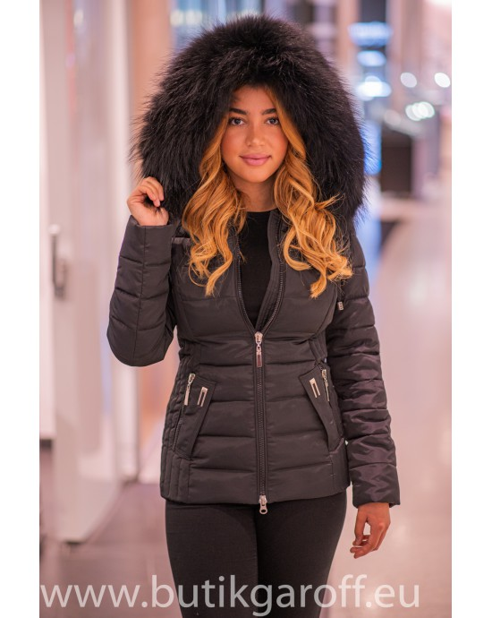 Black winter jacket Garoff with faux black fur collar 1582